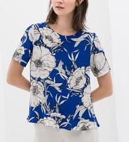 ST1840 New Fashion Ladies' Elegant floral print T shirt O neck short sleeve the back cross shirt casual slim brand designer tops