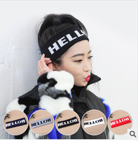 Korean version of Harajuku style hello personalized sports Knitting Wool stretch wide ribbon version
