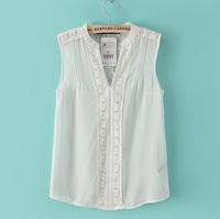 ST1885 New Fashion Ladies' elegant lace spliced white chiffon blouse shirt sleeveless office lady shirt casual slim brand design