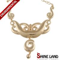 Luxury Elegant 2014 New Women Simple Fashion Gold Color Metal Pendants Chunky Chains Statement Necklaces Unique Vintage Jewelry