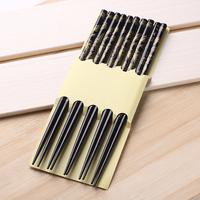 Qiyun Fashion Chinese Vintage Antique Wood 5 Paris Set Family Bamboo Chopsticks Gift Pauzinhos Essstabchen Baguettes Palillos