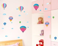 Living room bedroom cartoon TV setting wall of children room decoration paper sofa room hot air balloon wall stickers!