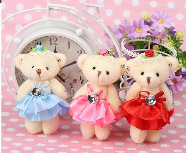 7cm Plush bear pendant, Cute plush bouquet doll,children gif Mother's day valentine's day wedding gift(China (Mainland))