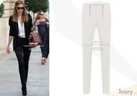 2014 Fashion women high waist jeans black white zipper slim elastic pencil skinny jeans plus size women denim pants