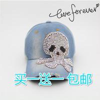 Good Brand cap 2014 latest hot wholesale female girls crystal diamond snapback caps new popular fashion women denim baseball cap