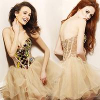 2014 dress bridesmaid dresses princess short strapless fleabane bitter fleabane dress convention small formal attire Free