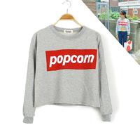 Free Shipping New 2014 Korean fashion  design Crop tops  harajuku cotton popcorn Print a T shirt  tops for women