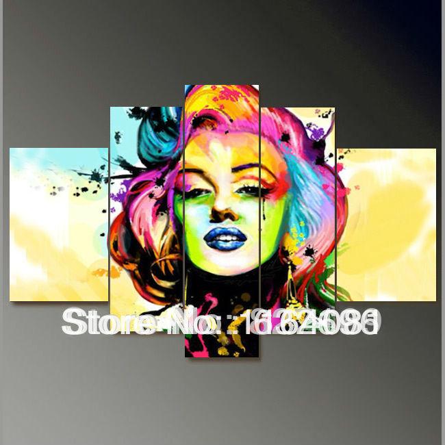 Versandkostenfrei hand bemalt modernen Ölbild auf leinwand plakatwand kunst hauptdekoration 5pcs/set marilyn monroe portrait