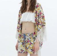 ST2034 New Fashion Ladies' Elegant Floral Print loose kimono blouse non-button Tassel Shirt vintage cardigan brand design top