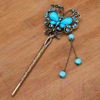 Qiyun Copper Women Charm Blue Elegant Resin Dangle Bib Auth Retro Brooch Pin Hair Horquilla Haarstift Epingle Cheveux