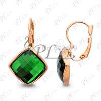 18K Gold Plated Fashio Jewelry Wholesale Use Sw Crystal Light Blue Rhombus Shape Dangle Earring Free Shipping E042R