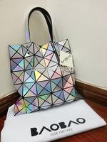 Free shipping new 2014 brand bag women's handbag Issey MIYAKE BAOBAO metal color handbag women's big bag laser 8 color hot sell