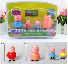 Plastic Pepa Peppa Pig Toys Dolls papai mamãe Pig George Peppa Pig Família Set novo brinquedo figura de ação dos desenhos animados Hot Sale(China (Mainland))