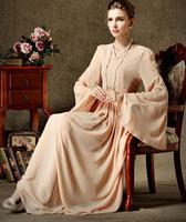 High Quality Beautiful  V Collar Long Sleeve Pure Color Chiffon Long Dress Pink/White Free Shipping
