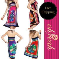2014 New Arrival Fashion Ethnic Dress Flower Print Sexy Beach Dress Popular Summer Cover Up Beach Dress Sexy Swimsuit  R7646