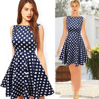 Dark Blue 2014 New Summer Casual Dress Women Sleeveless Elegant Party Vintage Polka Dot Dresses Plus Size Free shipping WQ0278