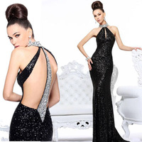 new arrival vestidos de fiesta elegant black sequin hand made beading crystal stone long evening dresses 2014 Free Shipping Z607