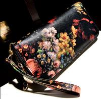 New brand 2014 women wallets coin phone bag long purse zipper fashion pu leather wallets gift for women