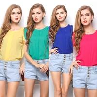 Hot Womens Chiffon Tulip Short Sleeve Casual Shirt Loose T-Shirt Blouse Blusas FemininasTops #58483