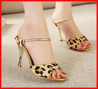 2014 new fashion Gladiator open toe Leopard genuine leather high heels women sandals stiletto summer women shoes woman brand