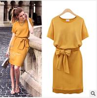 Promotions ! 2015 European and American Style Dress Casual Women ,Plus Fertilizer Big Size Belt Dress Brand , XL-2XL-3XL-4XL-5XL