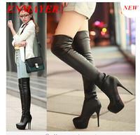 ENMAYER new 2014 Elastic SkinTight Platforms High Heel 13.5cm Women Over Knee Boots Thigh High Long Boot big size 34-43 Brown