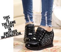 2014 new  sponge cake ladies Shoes Diamond lace net yarn slope  increase  leisure shoes travel shoes women shoes E107