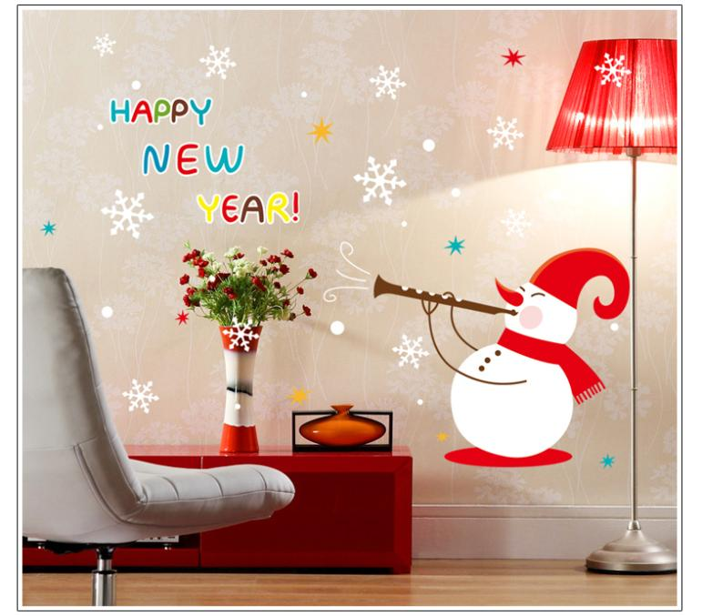 Free shipping new arrival hot sale PVC removable Christmas wall sticker snow man wall decal ABQ9801(China (Mainland))