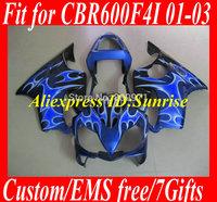 Motorcycle Fairing kit for HONDA CBR600 F4I 01 02 03 CBR600 F4I 2001 2002 2003 CBR600 Flames black blue Fairings set  HF10