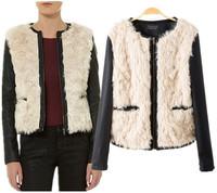 European and American women winter coat brand designer wool patchwork slim leather sleeve jacket ladies o-neck zipper outerwear