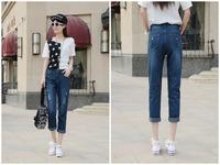 2014 new fashion trend denim jeans nine hole women's casual pants harem pants trousers cross