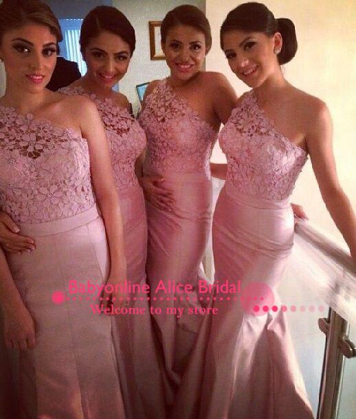 2014 moderne, sirène, un étage d'épaule longueur longue en dentelle rose robes de demoiselle d'honneur en satin de mariée robes de soirée livraison gratuite