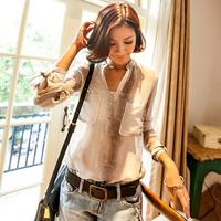 2014 Hot Selling Women Fashion Vintage Serpentine Pattern Printed V-Neck Long Sleeve Loose Chiffon Blouse