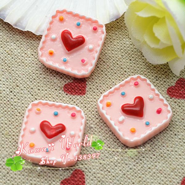 wholesale resin flat back heart cake dessert for decoration free shipping 100pcs 17mm(China (Mainland))