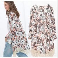 CT615 New Fashion Ladies' elegant Floral print Kimono with tassel loose vintage cape coat cardigan casual brand design tops