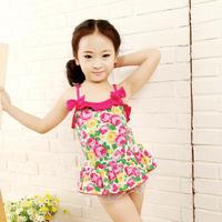 1pcs New 2014 Children Girls Swimwear Kids Swimsuit Lace Edge One Piece Baby Girls Swimming Wear Free Shipping 2014 New Arrival