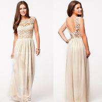 2014 Hot Sell Women Summer Sleeveless White Top Crochet Sexy Chiffon Maxi Dress Celibrity evening dress Free shipping WQ0280