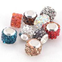 Beads,pave crystal large hole beads for charm bracelet,troll bracelets,interchangeable bracelets fimo clay pave beads 50 pcs/Lot