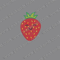 Free Shipping 50Pcs/Lot Wholesale Strawberry Rhinestone Heat Transfers Iron On Crystal Motif Designs For Decoration
