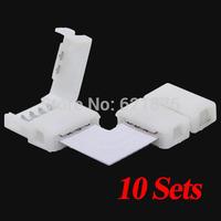 10sets/lot Solderless L Shape 90 Degree Corner Connectors 4 Pin connectors  for 12V 5050 10mm width LED RGB Strip free shipping