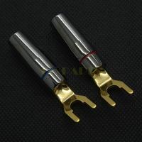 2PC 24K Gold Plated Speaker Amplifier Spade Fork Y Plug Connector Terminal SCREW