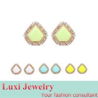 Fashion Rhombus Geometric   Stud Earrings for Women 2014 European Fashion Statement Jewelry Alloy Resin 4 Colors