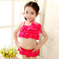 2014 New Arrival Child Swimwear Bikini Two Pieces Girls Swimwears Fashion & Lovery Swimsuit  For Kids Orange/Fushcia  Two Colors
