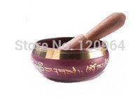 diameter 3.8Inch ASIAN Tibetan Copper Crafted Gold Gilt wonderful Chakra Singing Bowl Meditation RED Antique Copper Bronze Bowls