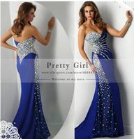 vestidos de fiesta 2014 luxury crystal beaded boutique dress sweetheart strapless royal blue elegant long mermaid prom dress