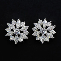White Platinum Plated Clear White Crystals CZ Zircon Stud Earrings Women's Fashion Jewelry Free shipping
