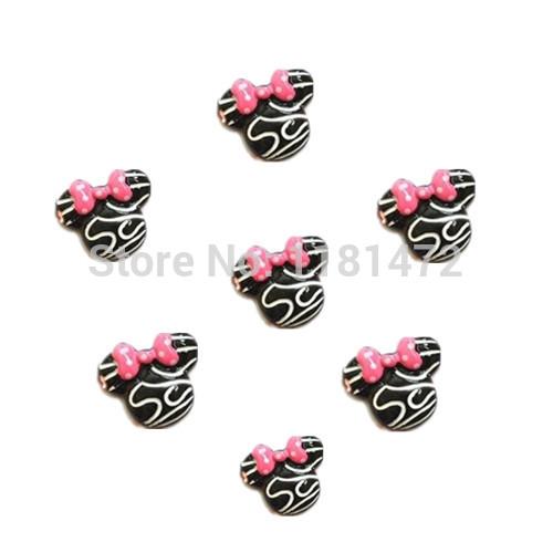 100 pçs/lote atacado Zebra Minnie Mouse rosa Dot Bow resina Flatbacks Scrapbooking arco de cabelo centro de artesanato fazer enfeites(China (Mainland))
