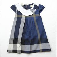 Free shipping Baby girls one-piece dress new 2015 100% cotton girl plaid dress fashion Casual dress sleeveless Bow dresses #8272