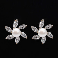 2014 New Design Zircon Earrings Pearl Earrings For Women Gold Plated Pearl Stud  Earrings Pearls Jewelry