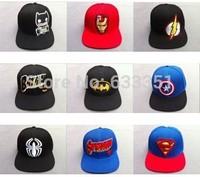 2014 universe marval comics super hero batman superman iron man flash american captain spider baseball cap visor 58- 60cm